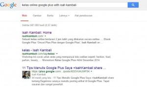 Lihatlah Status Google Plus saya, Saya share di Koleksi dan ke-index oleh Google