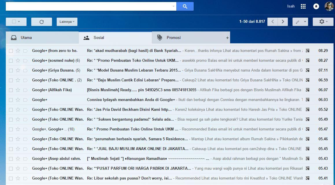 Notifikasi pada Email juga muncul