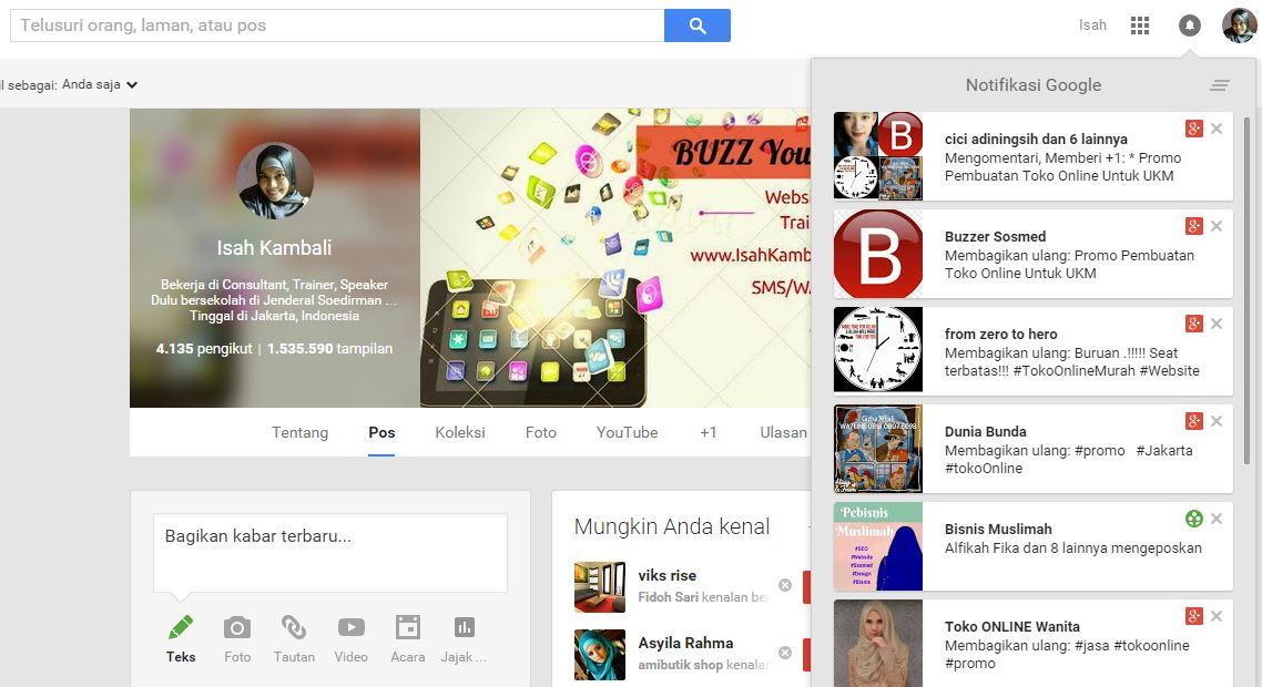 Notifikasi Pada Google Plus