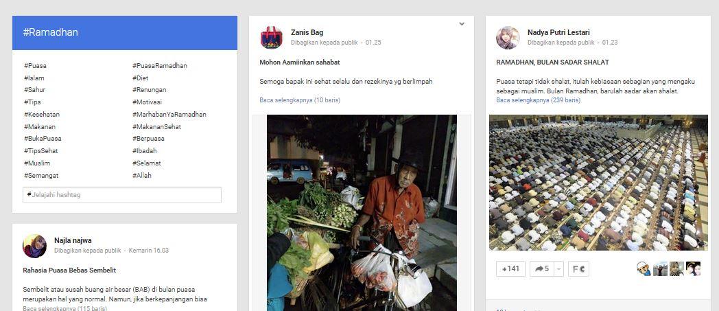 Trending topic di Google Plus dengan Kata Kunci Ramadhan