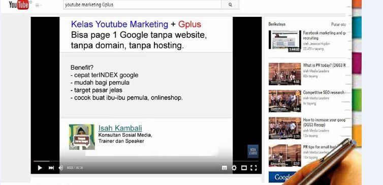 Kelas Online Youtube Marketing dan Google Plus For Business