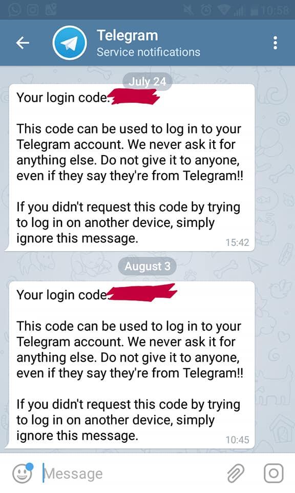penipuan meminta kode akun telegram